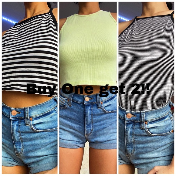 Stripes and Neon Green Crop top (3 items)